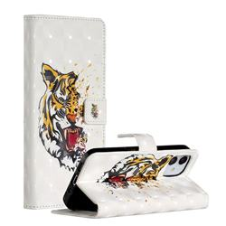 Toothed Tiger 3D Painted Leather Phone Wallet Case for iPhone 12 (5.4 inch)