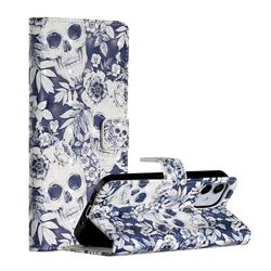 Skull Flower 3D Painted Leather Phone Wallet Case for iPhone 12 (5.4 inch)
