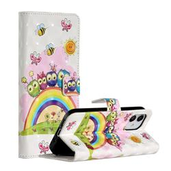 Rainbow Owl Family 3D Painted Leather Phone Wallet Case for iPhone 12 (5.4 inch)