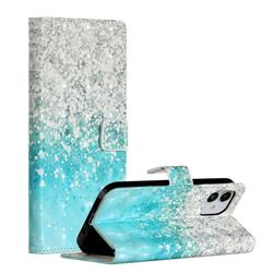 Sea Sand 3D Painted Leather Phone Wallet Case for iPhone 12 (5.4 inch)
