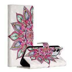 Mandara Flower 3D Painted Leather Phone Wallet Case for iPhone 12 (5.4 inch)