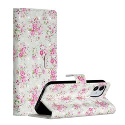 Roses Flower 3D Painted Leather Phone Wallet Case for iPhone 12 (5.4 inch)
