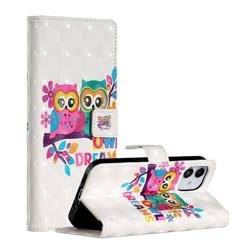 Couple Owl 3D Painted Leather Phone Wallet Case for iPhone 12 (5.4 inch)