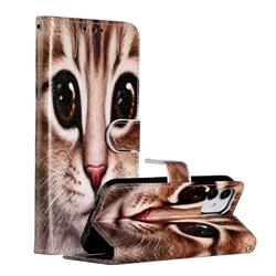 Coffe Cat Smooth Leather Phone Wallet Case for iPhone 12 (5.4 inch)