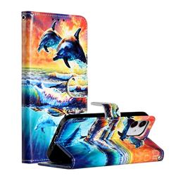 Couple Dolphin Smooth Leather Phone Wallet Case for iPhone 12 (5.4 inch)