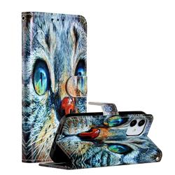 Blue Cat Smooth Leather Phone Wallet Case for iPhone 12 (5.4 inch)