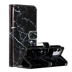 Black Marble Smooth Leather Phone Wallet Case for iPhone 12 (5.4 inch)