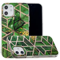 Green Rhombus Galvanized Rose Gold Marble Phone Back Cover for iPhone 12 (5.4 inch)