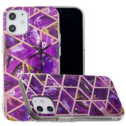 Purple Rhombus Galvanized Rose Gold Marble Phone Back Cover for iPhone 12 (5.4 inch)