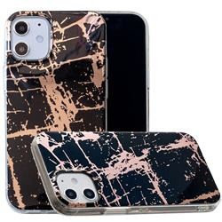 Black Galvanized Rose Gold Marble Phone Back Cover for iPhone 12 (5.4 inch)