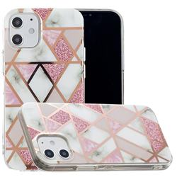 Pink Rhombus Galvanized Rose Gold Marble Phone Back Cover for iPhone 12 (5.4 inch)