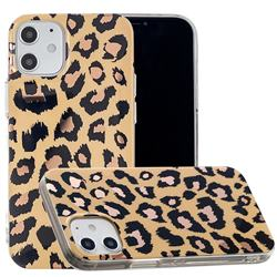 Leopard Galvanized Rose Gold Marble Phone Back Cover for iPhone 12 (5.4 inch)