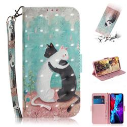 Black and White Cat 3D Painted Leather Wallet Phone Case for iPhone 12 (5.4 inch)