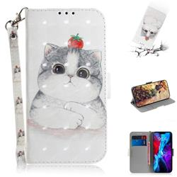Cute Tomato Cat 3D Painted Leather Wallet Phone Case for iPhone 12 (5.4 inch)
