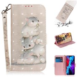 Three Squirrels 3D Painted Leather Wallet Phone Case for iPhone 12 (5.4 inch)