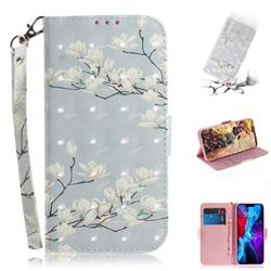 Magnolia Flower 3D Painted Leather Wallet Phone Case for iPhone 12 (5.4 inch)