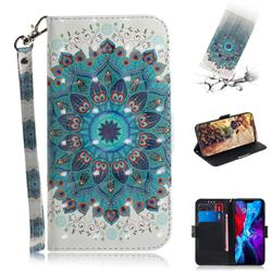 Peacock Mandala 3D Painted Leather Wallet Phone Case for iPhone 12 (5.4 inch)