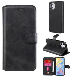 Retro Calf Matte Leather Wallet Phone Case for iPhone 12 (5.4 inch) - Black