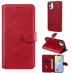 Retro Calf Matte Leather Wallet Phone Case for iPhone 12 (5.4 inch) - Red