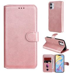 Retro Calf Matte Leather Wallet Phone Case for iPhone 12 (5.4 inch) - Pink