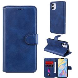 Retro Calf Matte Leather Wallet Phone Case for iPhone 12 (5.4 inch) - Blue