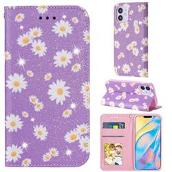 Ultra Slim Daisy Sparkle Glitter Powder Magnetic Leather Wallet Case for iPhone 12 (5.4 inch) - Purple