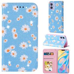 Ultra Slim Daisy Sparkle Glitter Powder Magnetic Leather Wallet Case for iPhone 12 (5.4 inch) - Blue