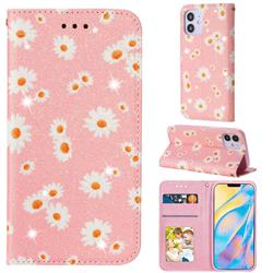 Ultra Slim Daisy Sparkle Glitter Powder Magnetic Leather Wallet Case for iPhone 12 (5.4 inch) - Pink