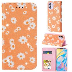 Ultra Slim Daisy Sparkle Glitter Powder Magnetic Leather Wallet Case for iPhone 12 (5.4 inch) - Orange