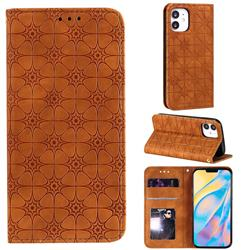 Intricate Embossing Four Leaf Clover Leather Wallet Case for iPhone 12 (5.4 inch) - Yellowish Brown