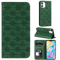 Intricate Embossing Four Leaf Clover Leather Wallet Case for iPhone 12 (5.4 inch) - Blackish Green