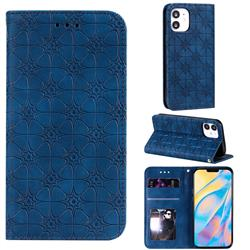 Intricate Embossing Four Leaf Clover Leather Wallet Case for iPhone 12 (5.4 inch) - Dark Blue
