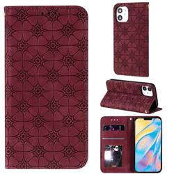 Intricate Embossing Four Leaf Clover Leather Wallet Case for iPhone 12 (5.4 inch) - Claret