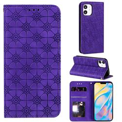 Intricate Embossing Four Leaf Clover Leather Wallet Case for iPhone 12 (5.4 inch) - Purple