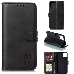 Embossing Happy Cat Leather Wallet Case for iPhone 12 (5.4 inch) - Black