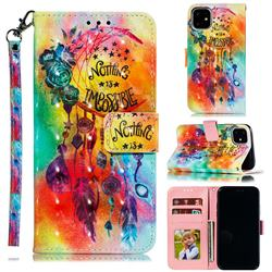 Flower Wind Chimes 3D Painted Leather Phone Wallet Case for iPhone 12 (5.4 inch)