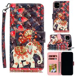 Phoenix Elephant 3D Painted Leather Phone Wallet Case for iPhone 12 (5.4 inch)