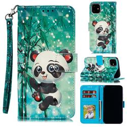 Cute Panda 3D Painted Leather Phone Wallet Case for iPhone 12 (5.4 inch)