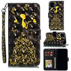 Golden Butterfly Girl 3D Painted Leather Phone Wallet Case for iPhone 12 (5.4 inch)