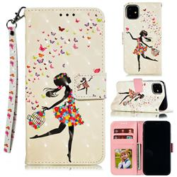 Flower Girl 3D Painted Leather Phone Wallet Case for iPhone 12 (5.4 inch)