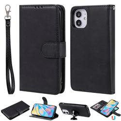 Retro Greek Detachable Magnetic PU Leather Wallet Phone Case for iPhone 12 (5.4 inch) - Black