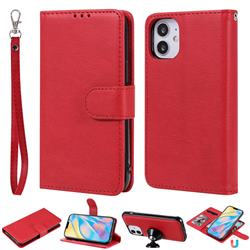 Retro Greek Detachable Magnetic PU Leather Wallet Phone Case for iPhone 12 (5.4 inch) - Red