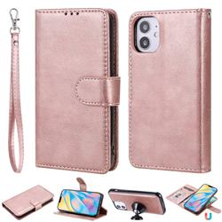 Retro Greek Detachable Magnetic PU Leather Wallet Phone Case for iPhone 12 (5.4 inch) - Rose Gold