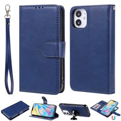 Retro Greek Detachable Magnetic PU Leather Wallet Phone Case for iPhone 12 (5.4 inch) - Blue