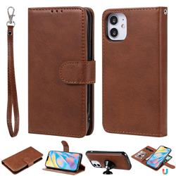Retro Greek Detachable Magnetic PU Leather Wallet Phone Case for iPhone 12 (5.4 inch) - Brown