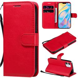 Retro Greek Classic Smooth PU Leather Wallet Phone Case for iPhone 12 (5.4 inch) - Red
