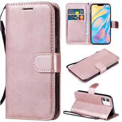 Retro Greek Classic Smooth PU Leather Wallet Phone Case for iPhone 12 mini (5.4 inch) - Rose Gold