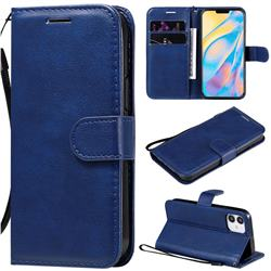 Retro Greek Classic Smooth PU Leather Wallet Phone Case for iPhone 12 (5.4 inch) - Blue