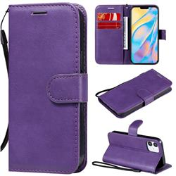 Retro Greek Classic Smooth PU Leather Wallet Phone Case for iPhone 12 (5.4 inch) - Purple