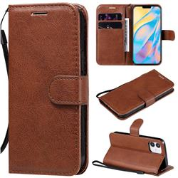 Retro Greek Classic Smooth PU Leather Wallet Phone Case for iPhone 12 (5.4 inch) - Brown